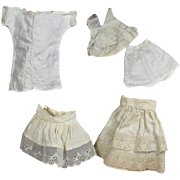 Antique Doll Whites!  5 Darling Small Doll Antique Slips!