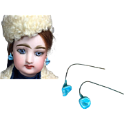 Gorgeous Antique French Fashion Doll Floral Earrings Turquoise Color!