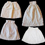 Antique Doll Whites!  4 l Doll Antique Coton Slips!