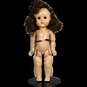 1950s Vintage Ginny Doll - Brown Hair, Orig Barrettes, Straight Leg Walker