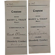 2 Antique 1917 Disorderly Conduct Complaints Warrants - Police Interest! Lancaster, PA