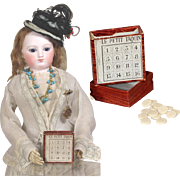 Rare! Antique French Fashion Doll Game LE PETIT TAQUIN - Orig Box with Game Pieces!