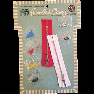 Vintage 1966 Mattel Francie & Casey Barbie Doll Buttons, Zippers on Original Card!