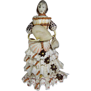 Victorian Antique Seashell Souvenir Shell Doll w Fan and Purse!