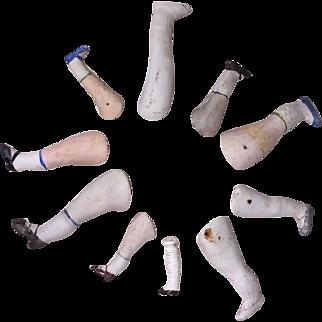 10 Antique All Bisque Doll Legs