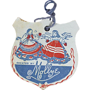 Original 1940s Mollye Mollye's Molly-es Doll Wrist Hang Tag!
