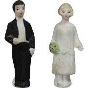 Antique Bisque German Tiny Bride and Groom Dolls Edwardian Cake Toppers!