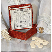 Antique French Fashion Doll Game LE PETIT TAQUIN - Orig Box with Game Pieces!
