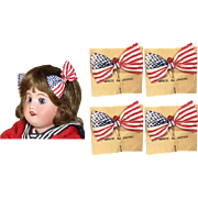 Old Store Stock Red White Blue Patriotic 4th July Flag Bows for Bisque Doll!