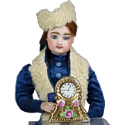 Lovely! Vintage Doll Size Dollhouse Mini Clock - Japan - Gold w Roses!