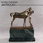 Signed Gilt Bronze Figural Nude Embracing Horse Statute on Marble Plinth - Erich Schmidt-Kestner - 1910