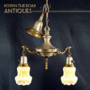 Two-Arm Hanging Chandelier with Silver & Gold Finish and Acid Cut-back Shades - 1920's