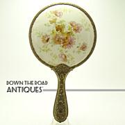 Porcelain Floral Hand Mirror with Brass Repoussé Handle - c.1905