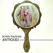 Porcelain Painted Hand Mirror with Repoussé Handle - Turn-of-The-Century