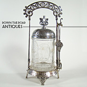Victorian Silver Plated Pickle Castor with Winged Cupids - 1880's