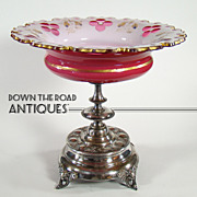 Opal cut to Cranberry Silver Plated Compote with Winged Angels