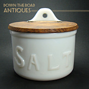 Opalene Milk Glass Salt Container with Wood Lid - c.1880