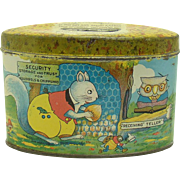 Tin Bank with Squirrel and Owl