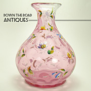 Cranberry Enameled Inverted Thumbprint Vase - 1880's