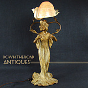 Impressively Large Art Nouveau Figural Lamp with Woman and Conch Shell Shade - 1910 - All Original