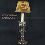 Silver Plated Candle Lamp with Cut Glass Stem and Hand-painted Shade - 1900