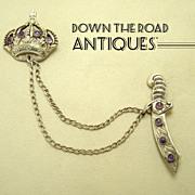 Taxco Sterling Brooch with Crown & Sword - Amethyst