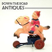 Early Celluloid and Tin Clown on Horse Wind-up Toy - Occupied Japan