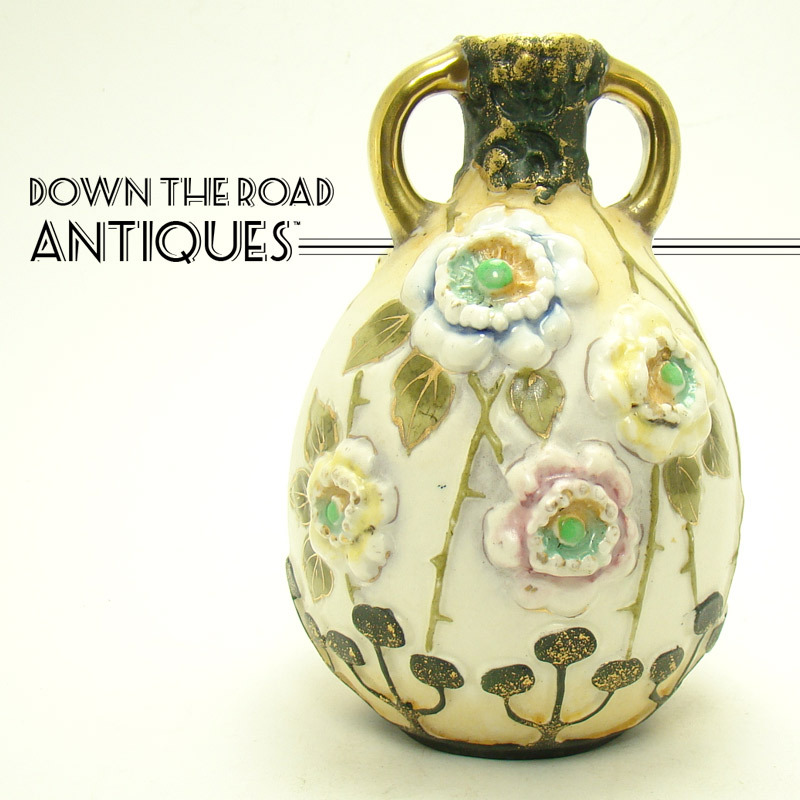 Amphora Ceramic Vase With Blown Out Flowers Sold On Ruby Lane