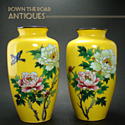 Beautiful Cloisonne Lemon Yellow Vases with Bluebirds (Pair) - 1950's