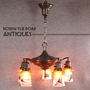 Beautiful Five-Arm Brass Chandelier with Pittsburgh Obverse Painted  Shades - c.1920