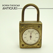 Solid Brass German Thermometer in Padlock Form