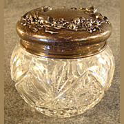 Cut Glass Powder Jar with Figural Sterling Lid - 1880's