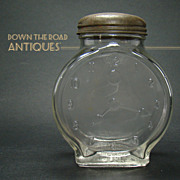 Unusual Clock Face Glass Jar with Tin Lid