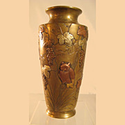 Brass-Bronze Mixed Metal Vase with applied grapes,dragonfly, owl, etc. - 1880's