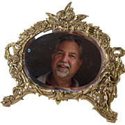 Cast Iron Beveled Table Top Mirror with Angels - 1880's