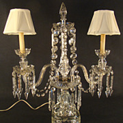 Large Cut Glass Mantle Luster Lamp - 1920's