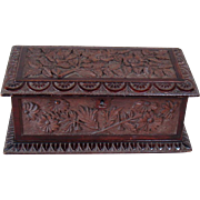 Carved Solid Black Walnut Chest - c.1880