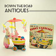 Bunny and Carriage Wind-up Toy - Mint in Box