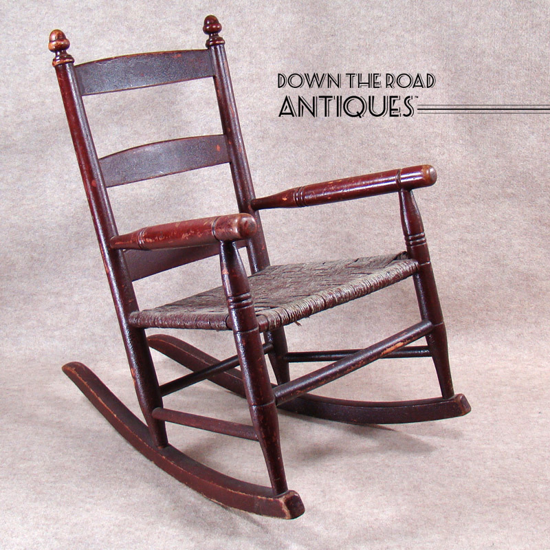 Early Child S Rocking Chair With Original Red Paint And Rope Seat
