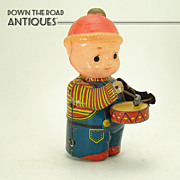 Tin and Celluloid Drummer Boy Wind-up Toy - Pre-war, Near Mint