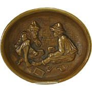 Solid Cast Bronze Pin Tray Depicting Two Boys Smoking - 1910