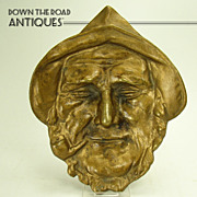 Solid Brass Cast Pin Tray - Man Smoking Pipe - 1910