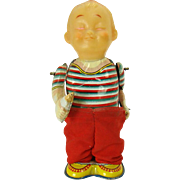 Japanese Tin Baby Pulling Pants Down Wind-up Toy - 1950's - Near Mint