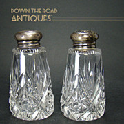 Cut Glass Salt and Pepper Shakers with Signed Sterling Tops - 1910