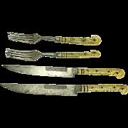 Bone Handle Inlaid Knife and Fork Set - Sarajevo - 1880's
