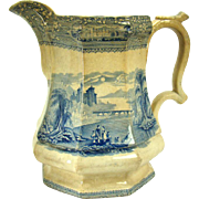 Staffordshire Transferware Blue Pitcher - Signed Mayer