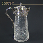 Large Cut Glass and Silver Plated Water Pitcher with Man of The North  - 1920's