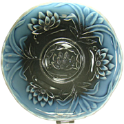 Large Pressed Glass Blue Opalescent Center Bowl in Water Lilly Pattern - 1920's