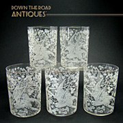 Etched Whiskey Glasses with Parrots and Floral Design - 1880's - (Set of 5)