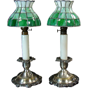 Leaded Kerosene Candle Lamps (Pair) - 1880's